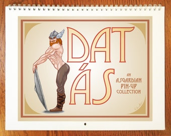 "Dat Ás Pin-Up Calendar - 8.5""x11"" - 12 Month Wall Calendar - Guide to the gods of Norse Mythology - The Calendar You Didn't Know You Needed"