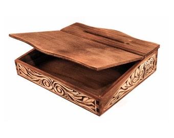 Hand carved medieval bureau box