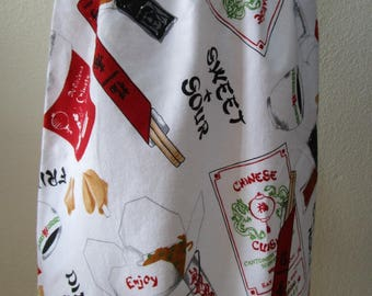 Chinese food ,fortune cookies, chopsticks , fried rice and more prints knee length skirt plus made in USA (VN8)