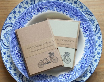 Notecard set with envelopes, gift cards thank you cards notes greetings birthday. 10pk. Vintage style rustic retro bike. Recycled kraft