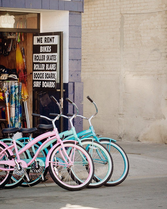 Art, Photography, Bicycle Print, Coastal Decor, Pastel Home Decor, Art Print, Children's Room Art, Nursery Art, Beach Bikes Photo
