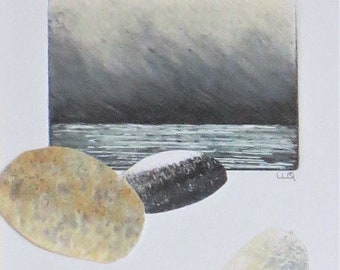 Original mixed media and collage ocean storm and sky with pebbles
