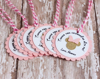 Minnie Mouse Favor Tags, Pink and Gold Favor Tags