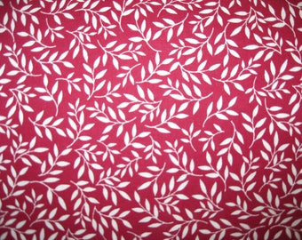 100 percent cotton fabric/maroon with white vines/quilting/crafts/sewing/by the yard