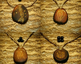 Life symbols ... DNA, Yoni  / Avocado stone necklace , avocado pit pendant , seed carving / natural jewelry , handcraft