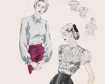 ON SALE Vintage 1940s Tailored Blouse Front & Back Shirring French Cuffs Sewing Pattern Vogue 6315 40s Swing Era Pattern Size 12 Bust 32