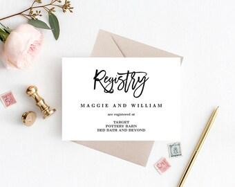 Registry Cards Editable Template - Printable PDF - BRUSHED - Wedding Registry Cards #BCC