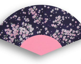 Washable Hand Fan Pink Cherry Blossoms on Purple
