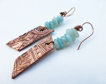 Copper and Stone Dangle Earrings