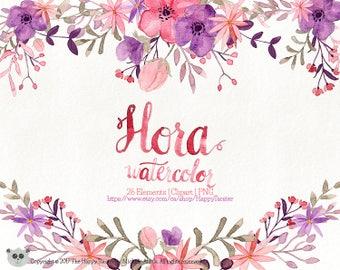 Watercolor Flora 02 Clipart, Flowers Clipart, Flower, Floral, Wreath, Bouquet, PNG, Clip Art, Watercolour, Purple, Pink