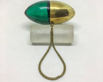 Victorian perfume bottle egg org lozenge in green glass and brass.