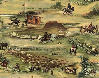 The Pony Express Fabric by Deborah Edwards for Northcott 21827 34 tan