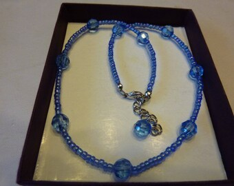 Necklace glass beads and Pearl synthetic