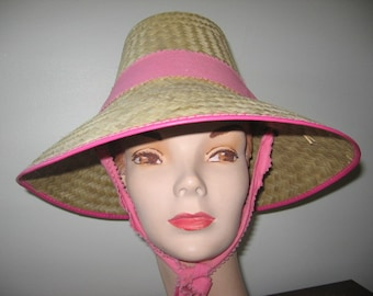 NEW LISTING / 1960's Straw Hat with Tall Crown and Chin Ties!