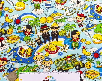 Anime MEN In BLACK BLUE Cotton Quilt Fabric Yard Comic Cartoon Nurse Doctor Graphic Japanese Kawaii Asian Manga Tokyo Japan Harajuku Girl