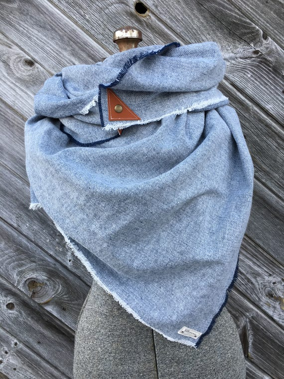Blue and White Herringbone Blanket Scarf with leather detail