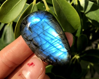 Labradorite Medium-Large Tumbled Semi Precious Palm Stone#119A