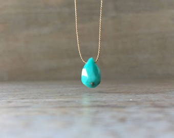 Floating Turquoise Necklace, Sleeping Beauty Turquoise Necklace, December Birthstone, Clothing Gift, Beauty Gift, valentines day Wife Mother