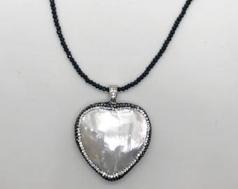 STACY Long Mother of Pearl Heart Necklace