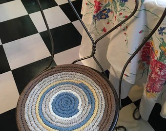 "Vintage Handwoven Chair Pad, Round 13"" Diameter Chair Pad"