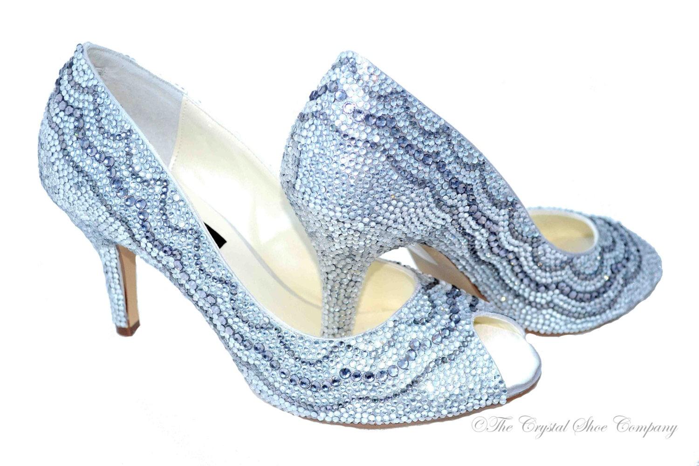 Silver swarovski crystal white mid heel wedding bridal peeptoe
