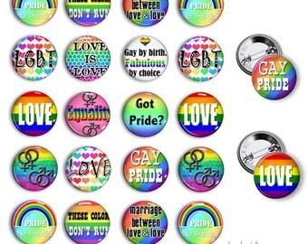 Gay Pride pinback button badges