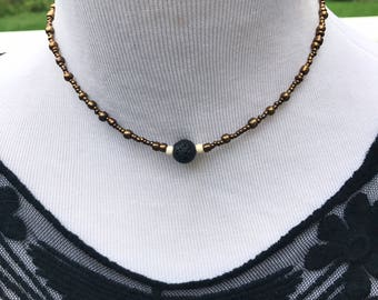 Diffuser necklace, lava bead necklace, necklace diffuser, oil diffuser, beaded necklace, beaded choker, aromatherapy, girlfriend gift, boho