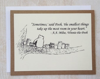 The Smallest Things - Winnie the Pooh Quote - Classic Pooh and Honey Note Card Cream On Kraft Brown