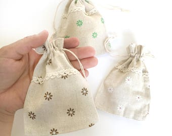 3 linen bags - fabric bags - favor bags - small gift bag - bag sack - jewelry gift bag - linen sack - flower print bag - floral gift bag