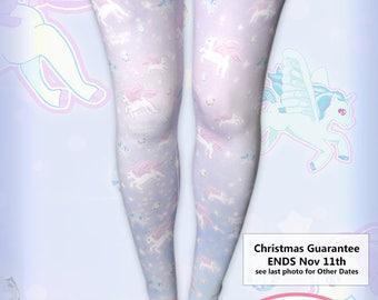 Unicorn Tights Pegasus Pony Pastel Stockings Fairy Kei Lolita Pastel Galaxy Stars universe Size XS Through 3XL *Made 2 Order*