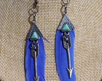 """ethnic earrings feather """"5"""""""
