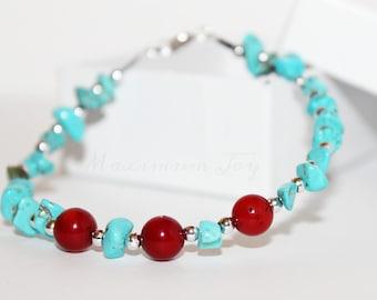 Beautiful Coral & Turquoise Bracelet