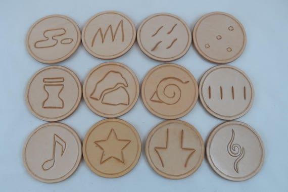 Handmade Leather Coaster Naruto Village Symbols Leather