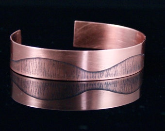 Cuff Bracelet Etched Copper Wave