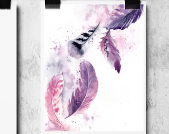 Feathers Fine Art Print, purple feathers, watercolor painting print, feathers modern wall print, watercolor print of feathers