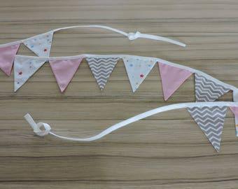 Garland pennants 12 fabrics geometry pink stars