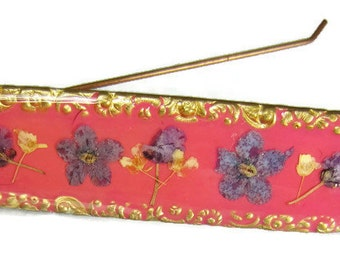 Blue Forget Me Nots on Pink ,Floral Barrette, Real Flowers on Cream, Pressed Flower  Hair Accessory, Brass(1843))