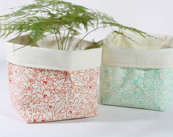 """Fabric baskets handprinted in coral or mint - Cotton buckets printed with leaves pattern - Organizer bin for table, desk or planter - 6""""x7"""""""