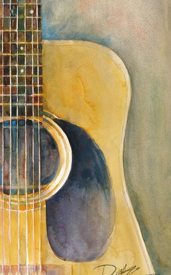 martin acoustic guitar watercolor art print size 8 5 x 11. Black Bedroom Furniture Sets. Home Design Ideas