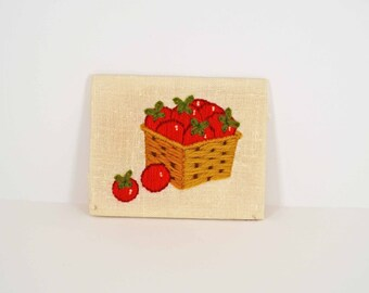 Basket of Tomatoes Crewel Work