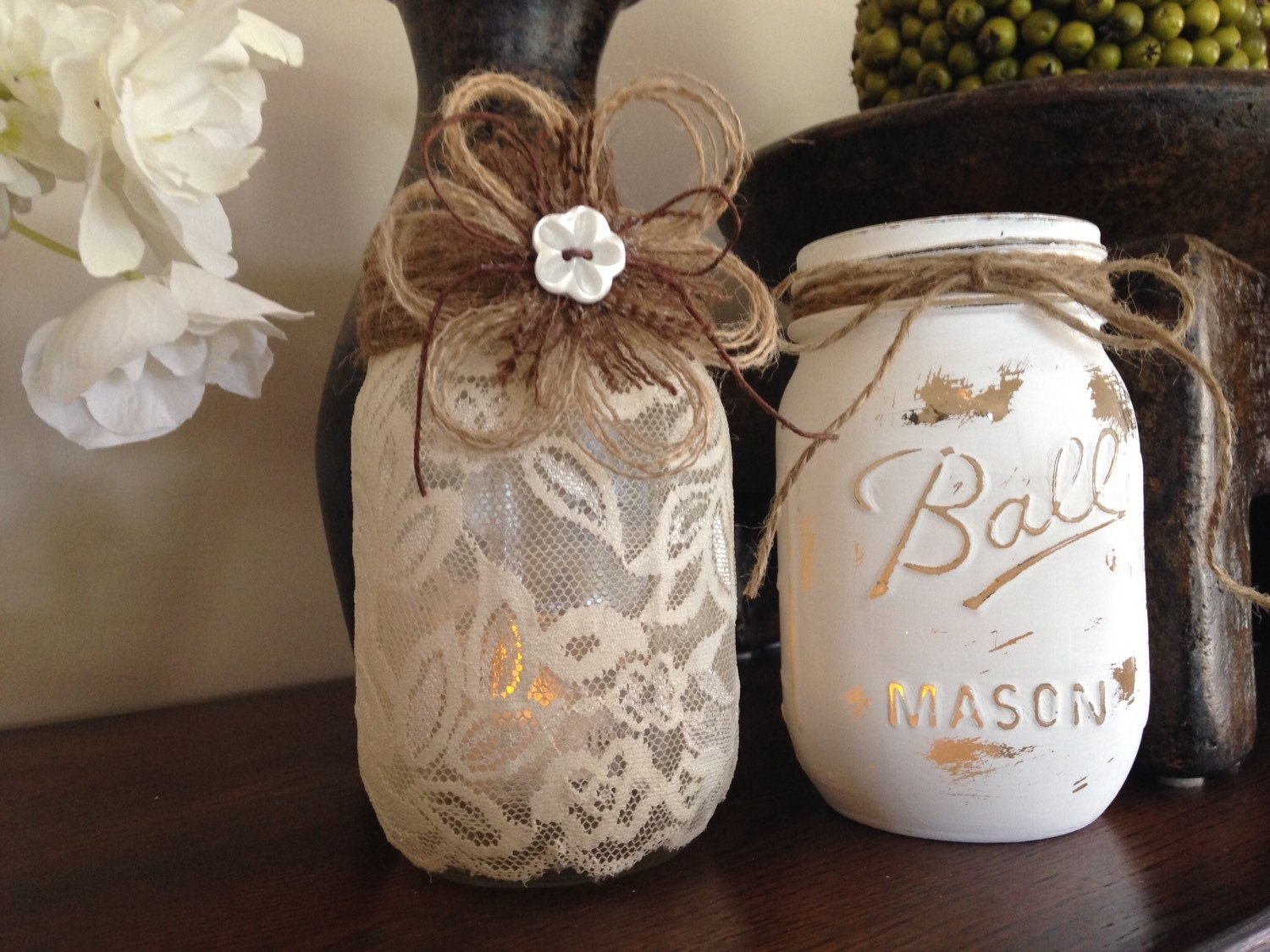 Shabby chic mason jars wedding centerpieces lace candle zoom junglespirit Gallery