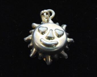 Vintage Estate Italian .925 Sterling Silver Happy Sunshine Pendant 4.3g #E2858