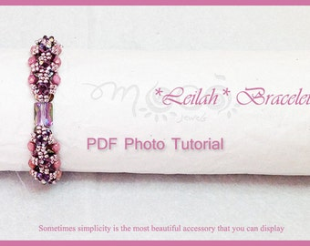 Photo Tutorial Eng-ITA ,DIY bracelet,*Leilah* bracelet ,PDF Pattern 45 with Pinch beads,swarovski,fire polished,seed beads,