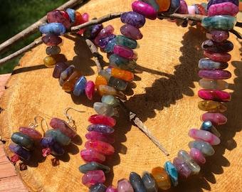 Multicolor Agate Necklace, Bracelet and Earrings Set
