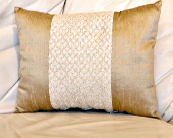 "Silk Dupioni Oblong Pillow Cushion Cover Lumbar Raw Silk Pillow Cover Throw Decorative Pillow Cushion Rectangular Pillow Cover, 16"" by 12"""