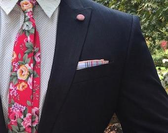 Skinny Pink Floral Tie Boyfriend Gift Men's Gift Anniversary Gift for Men Husband Gift Wedding Gift For Him Groomsmen Gift for Friend Gift