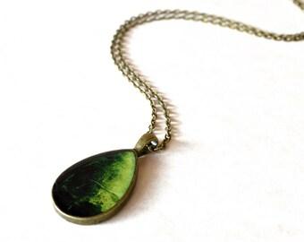 Teardrop seaweed resin necklace / Green vintage style drop necklace / Sea inspired jewelry / Summer teardrop pendant / FREE SHIPPING