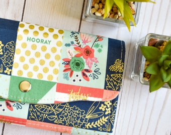 Floral womens wallet. Phone wallet. Vegan accordion wallet. Large clutch wallet. passport wallet. Travel gift for her. Mothers day gift.