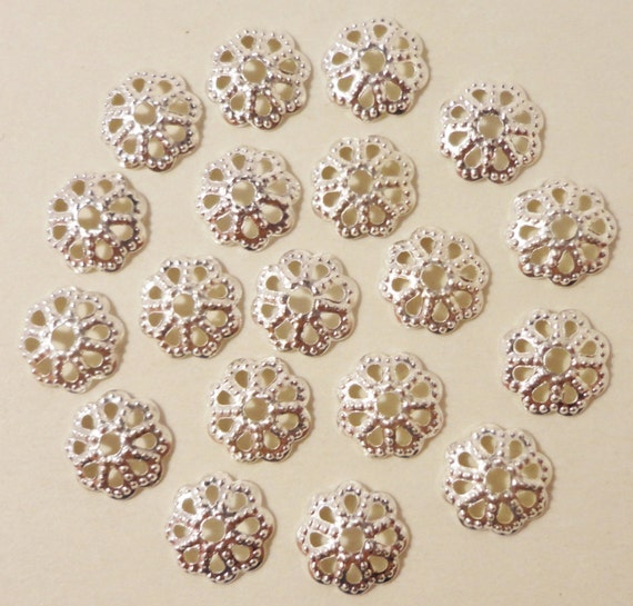 Silver Bead Caps 7mm Silver Tone Metal Thin Textured Flower Beadcaps End Cap Jewelry Making Jewelry Findings Beading Supplies 100pcs