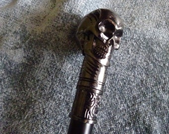 Vintage heavy full metal walking stick with skull handle